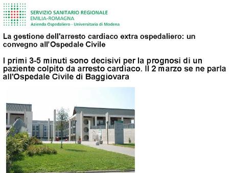 La gestione dell'arresto cardiaco extra ospedaliero: un convegno all'Ospedale Civile